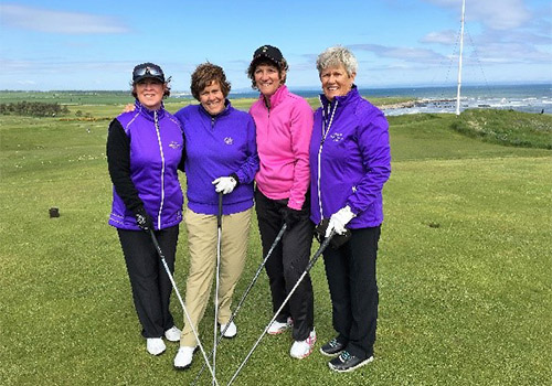 Mary and friends on the golf course